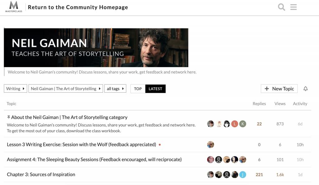 Gaiman masterclass community forum