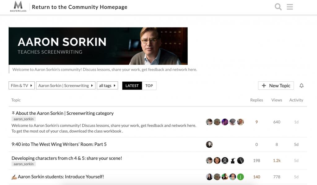 Masterclass community forum