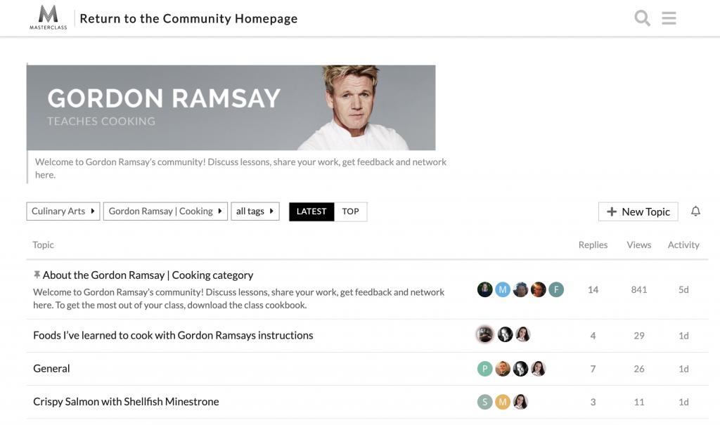 gordon Ramsay MasterClass community
