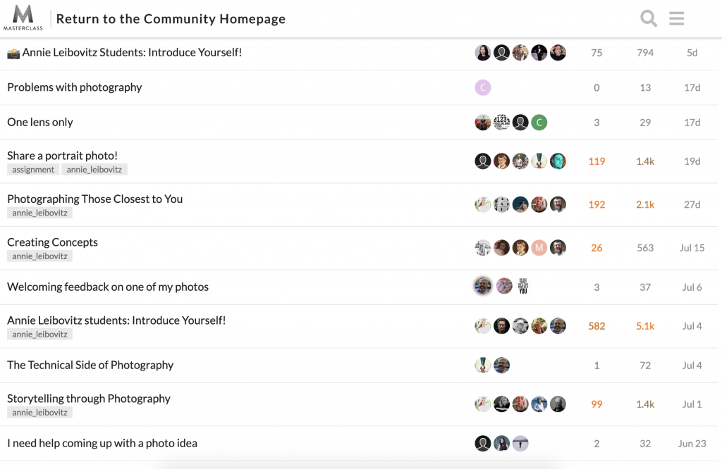 leibovitz masterclass community access