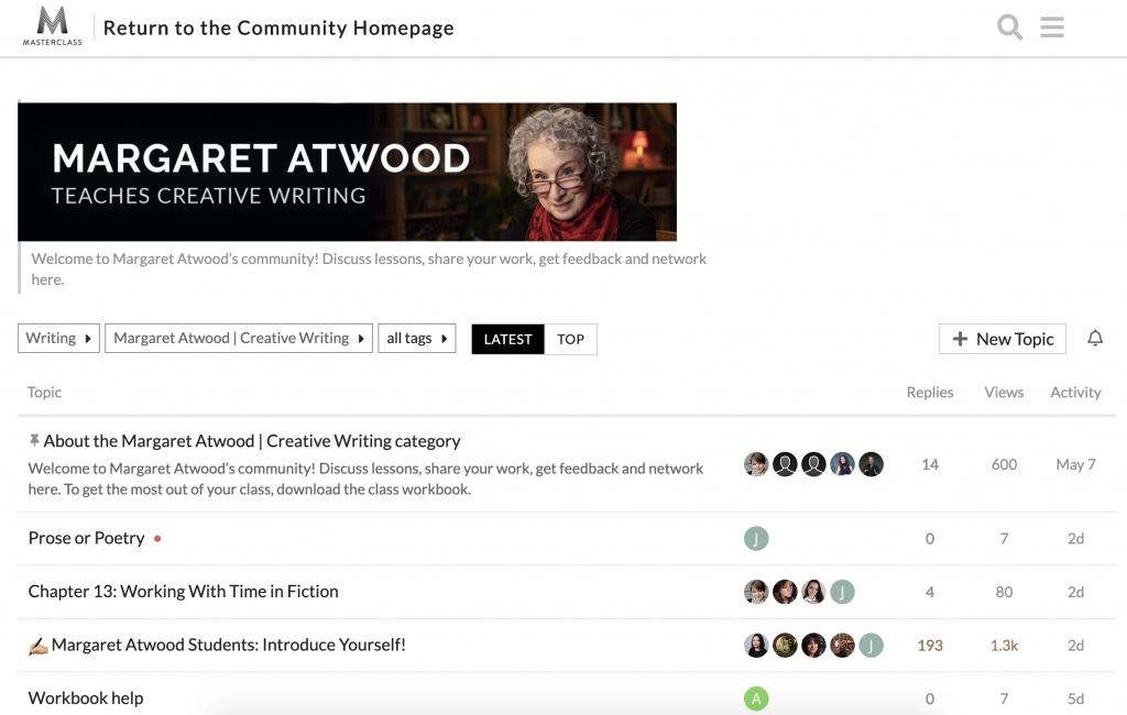 Margaret Atwood MasterClass Community Forum