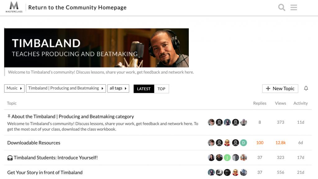 Timbaland Masterclass community