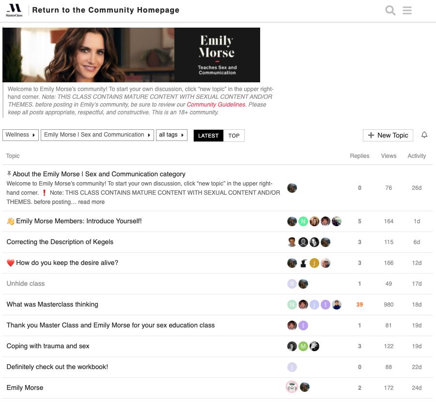 Emily Morse MasterClass Community Page