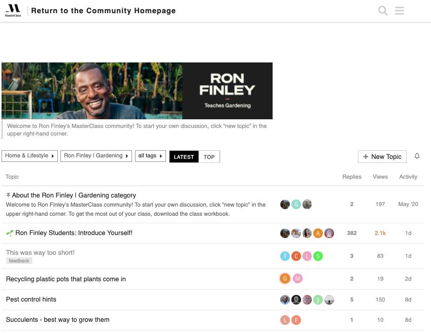Ron finley masterclass community homepage